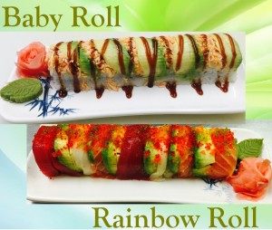 baby roll - rainbow roll